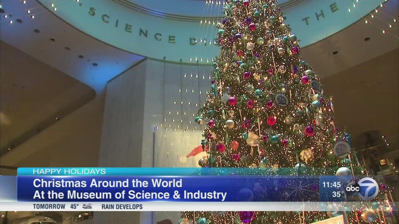 christmas tree display up at museum of science and industry abc7chicagocom