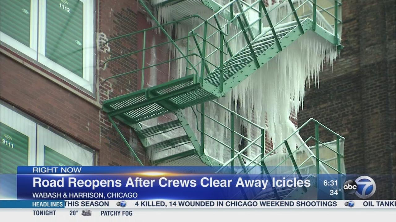 Part of Wabash reopens after ice cleared from fire escape