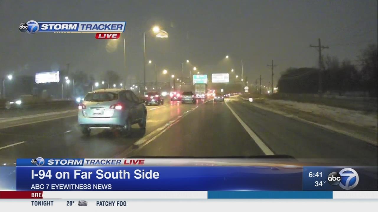 Freezing rain causes slick roads for morning commute