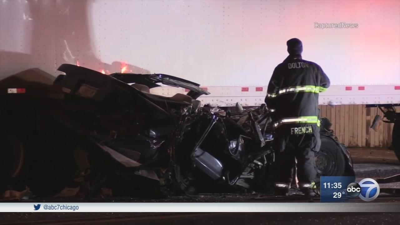 1 killed after car slams into semi in Riverdale