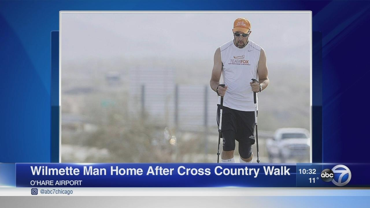 Wilmette man returns home after cross-country walk for Parkinsons