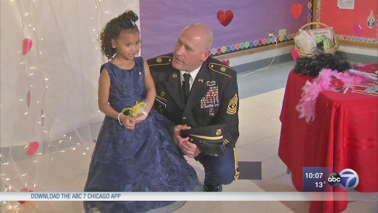 Illinois soldier steps in for girls late father at daddy-daughter dance