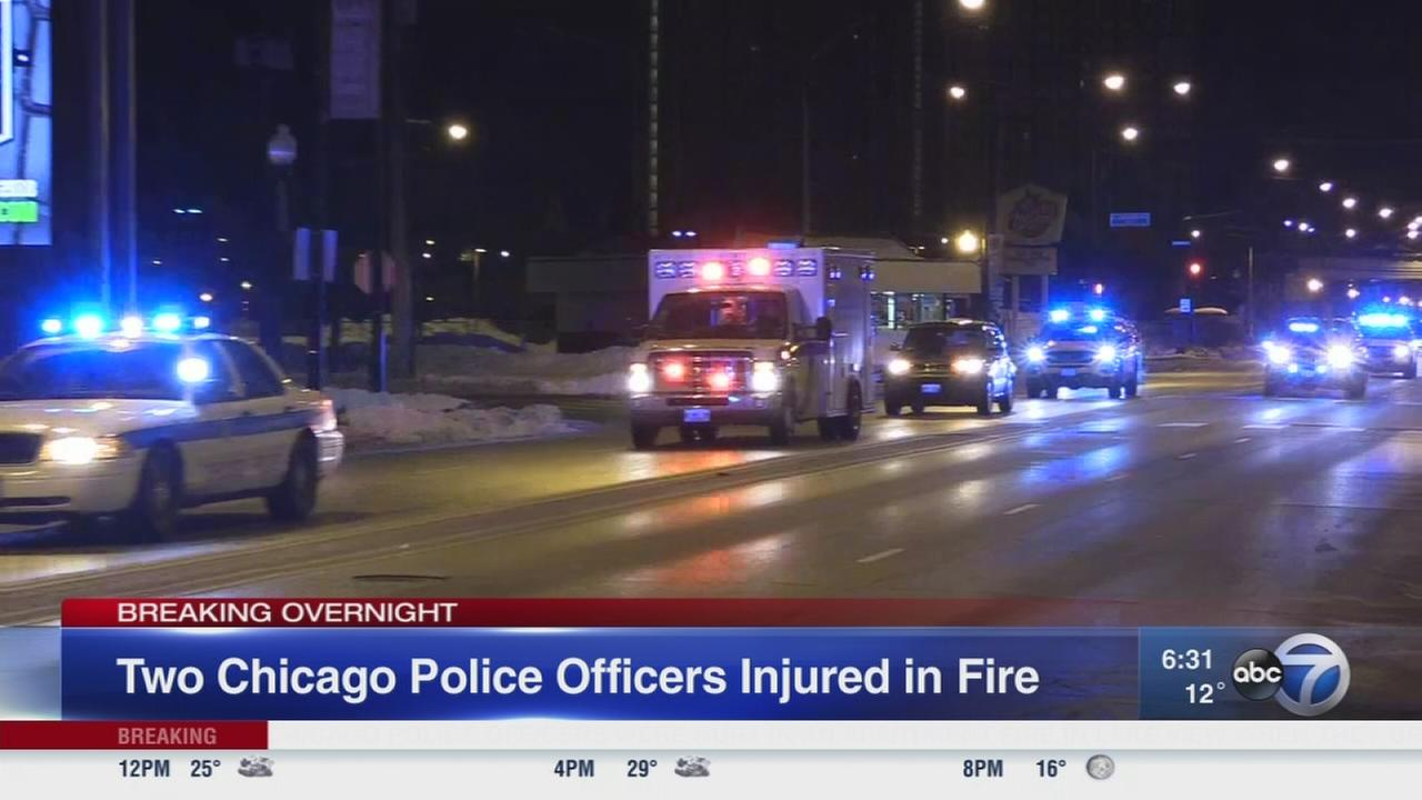 2 police officers injured in Lakeview fire