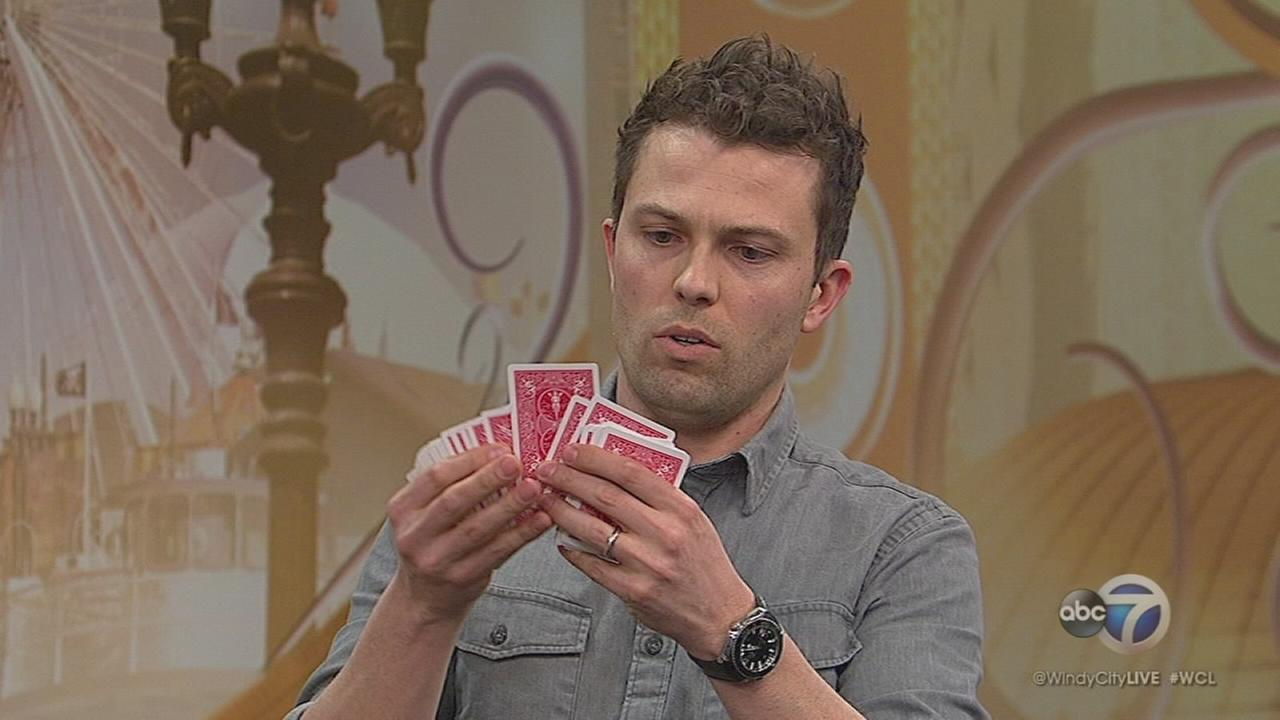 Magician Nate Staniforth performs in Evanston