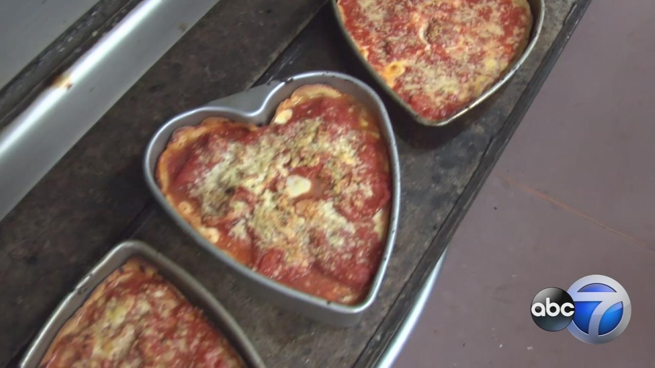 Heart-shaped deep dish pizza celebrates Valentines Day