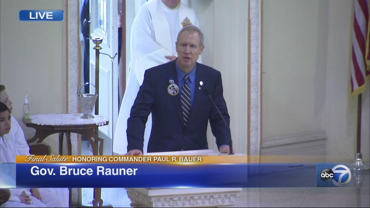 Gov. Rauner speaks at Cmdr. Bauers funeral