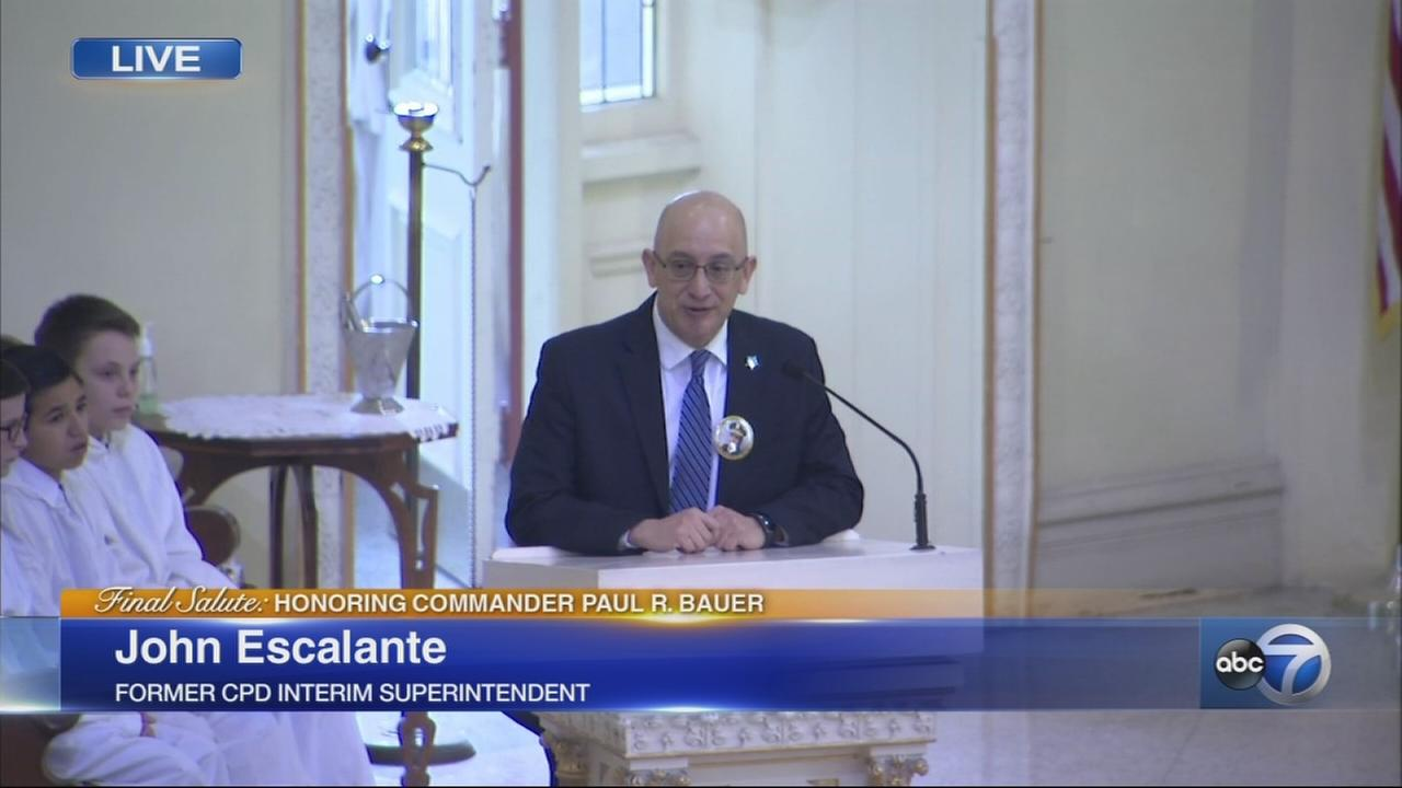 Chief Escalante speaks at Cmdr. Bauers funeral