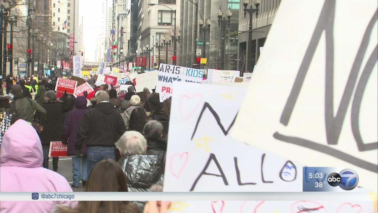 Hundreds march for gun control in Chicago