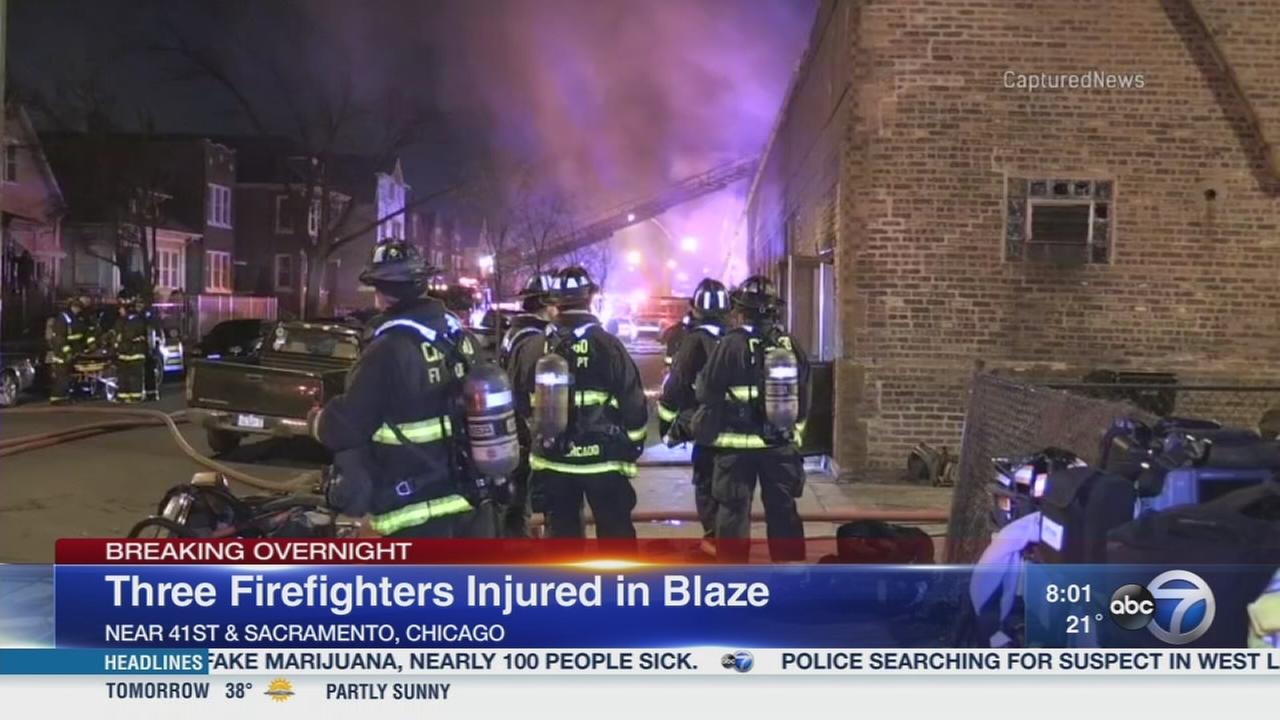 3 firefighters injured in Brighton Park fire