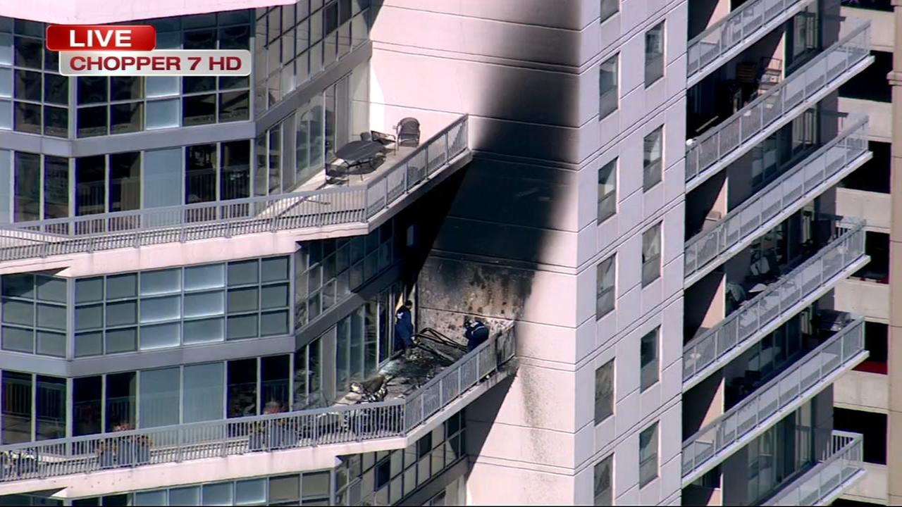 Fire struck on River North high rise balcony