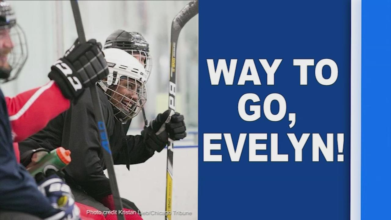 Evelyn Holmes learns to play hockey