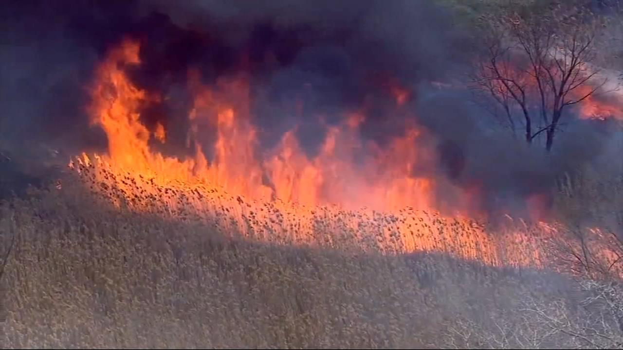Large brush fires in Alsip, Kankakee County fueled by winds, dry air