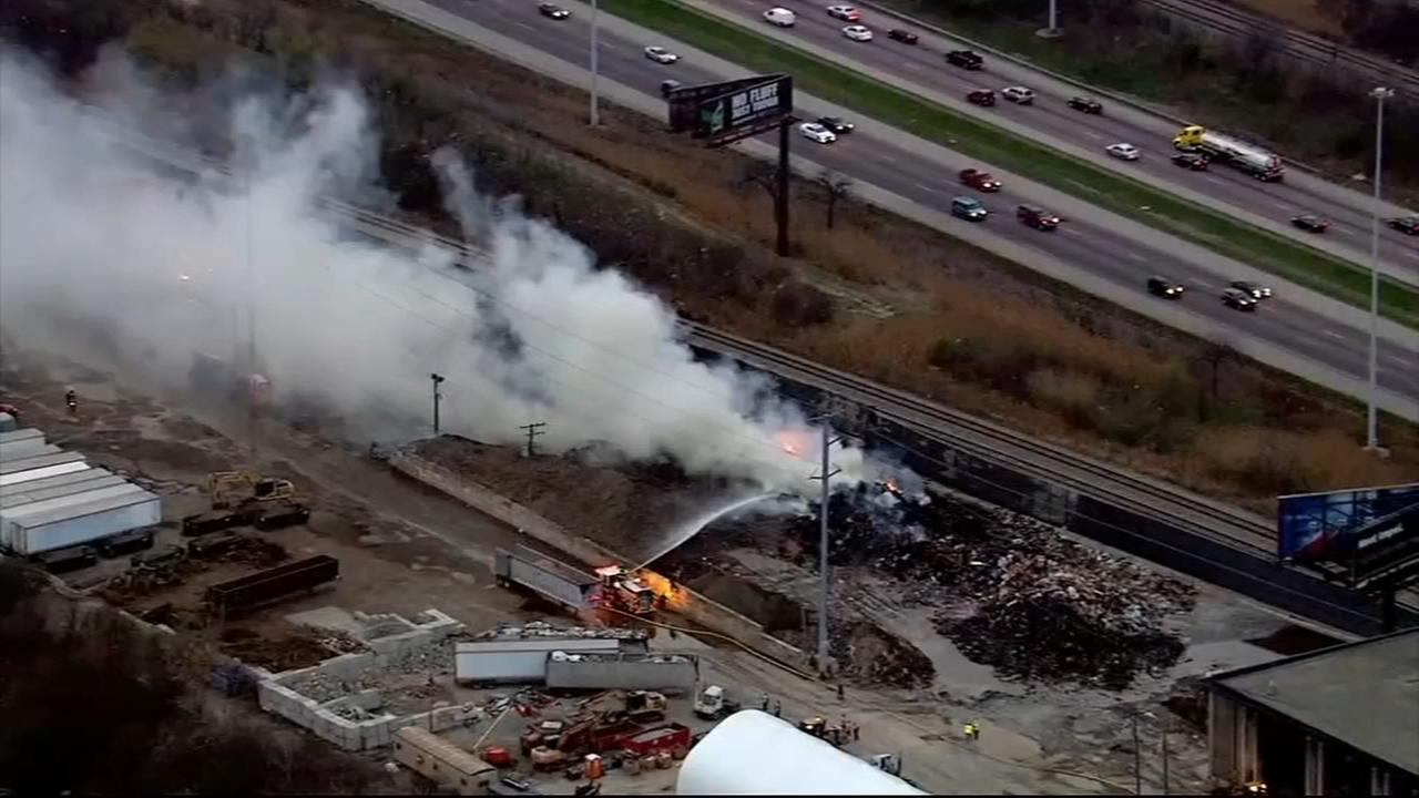 Fire burns through Forest View recycling plant