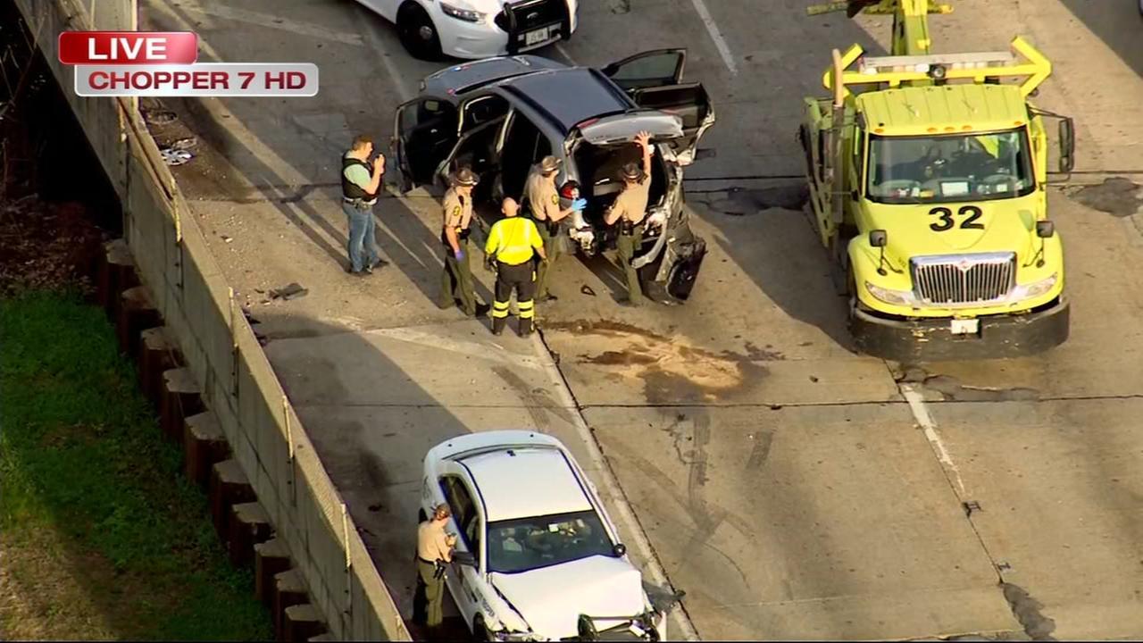 Driver of stolen vehicle, police crash on inbound Ike