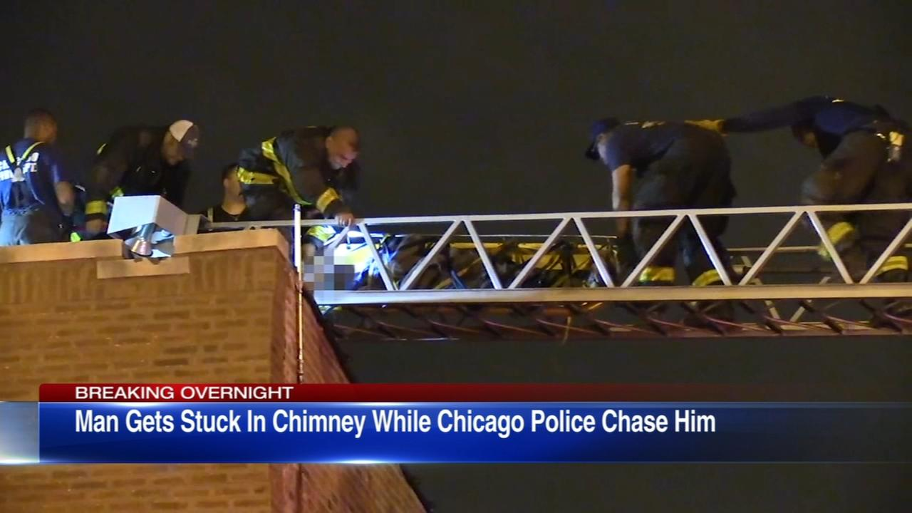 Man allegedly running from police gets stuck in South Side chimney