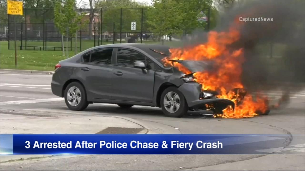 3 in custody after chase ends in fiery crash near Garfield Park