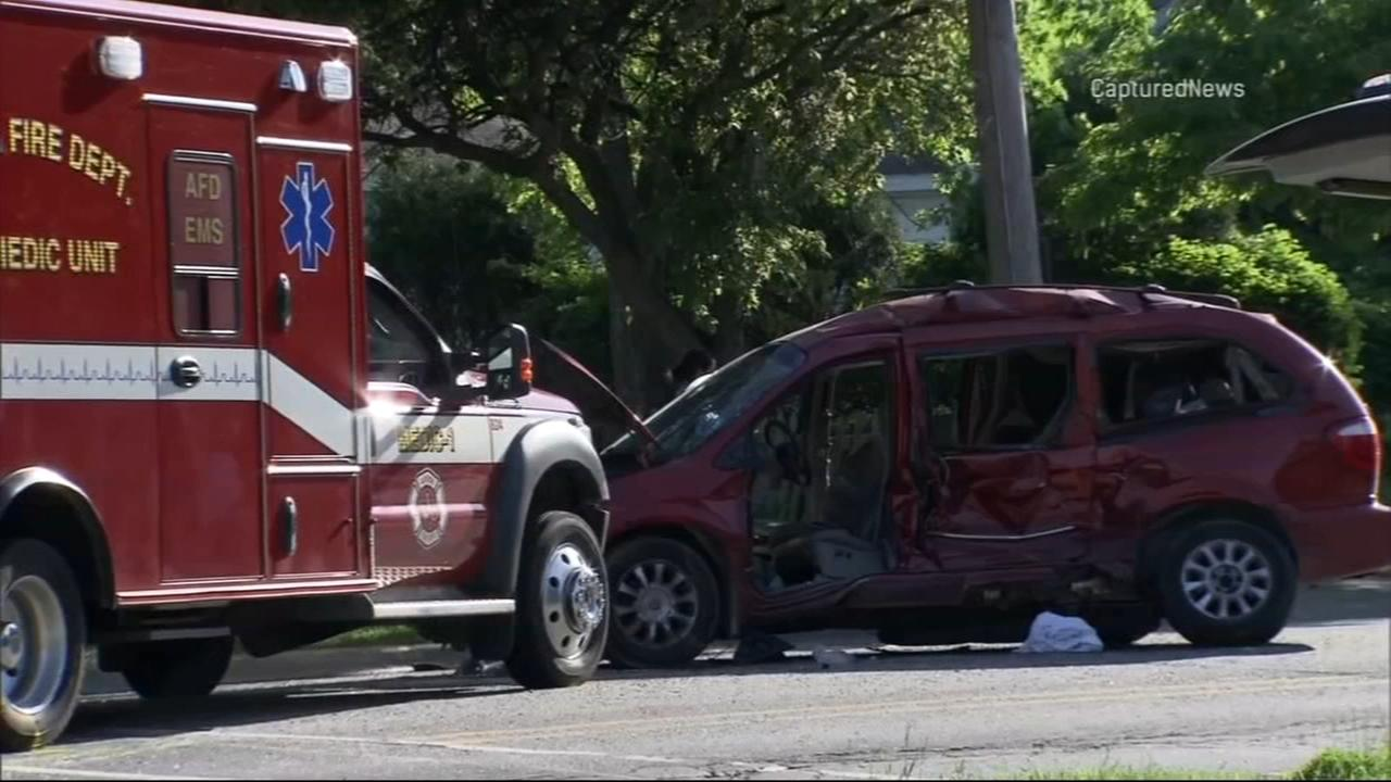 Police: 11 injured when ambulance carrying patient T-bones minivan