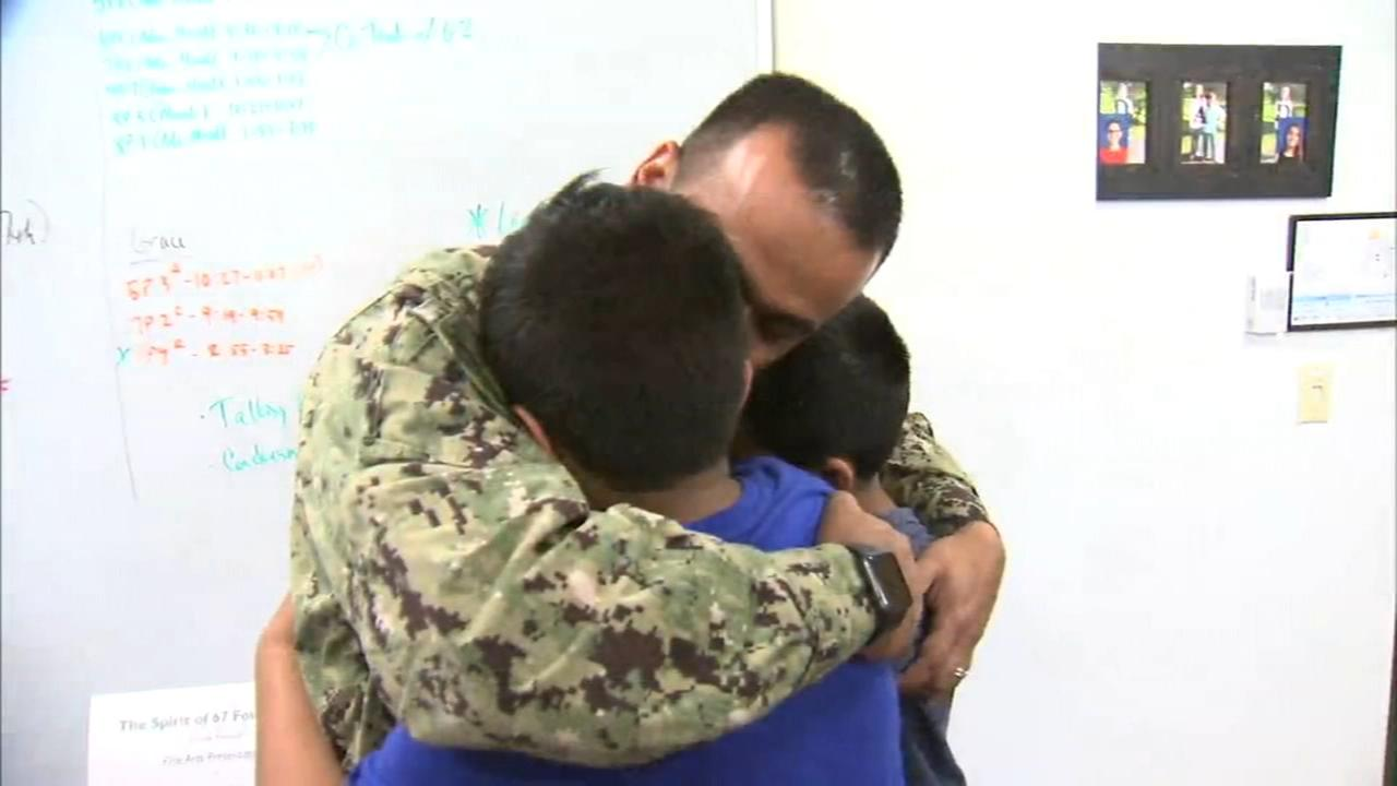 Navy Leutenant surprises sons at school