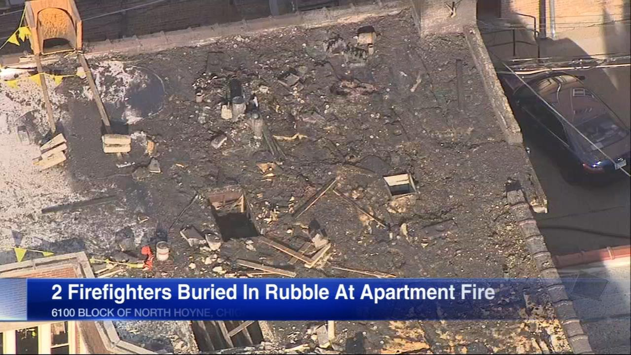 Firefighters trapped in rubble during Rogers Park fire