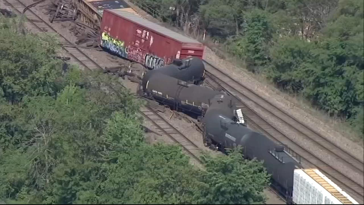 BNSF freight train derails in Aurora, Illinois; Metra unaffected