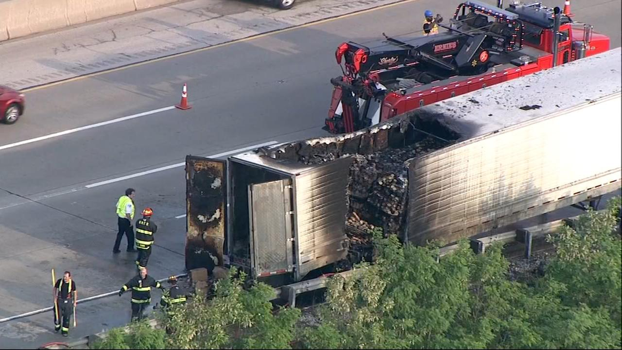Truck catches fire on I-294