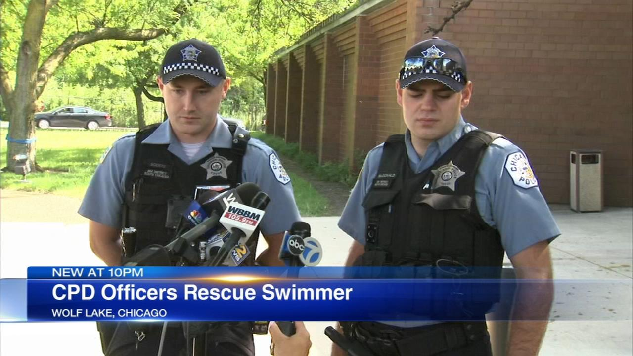 Chicago cops save struggling swimmer in Wolf Lake