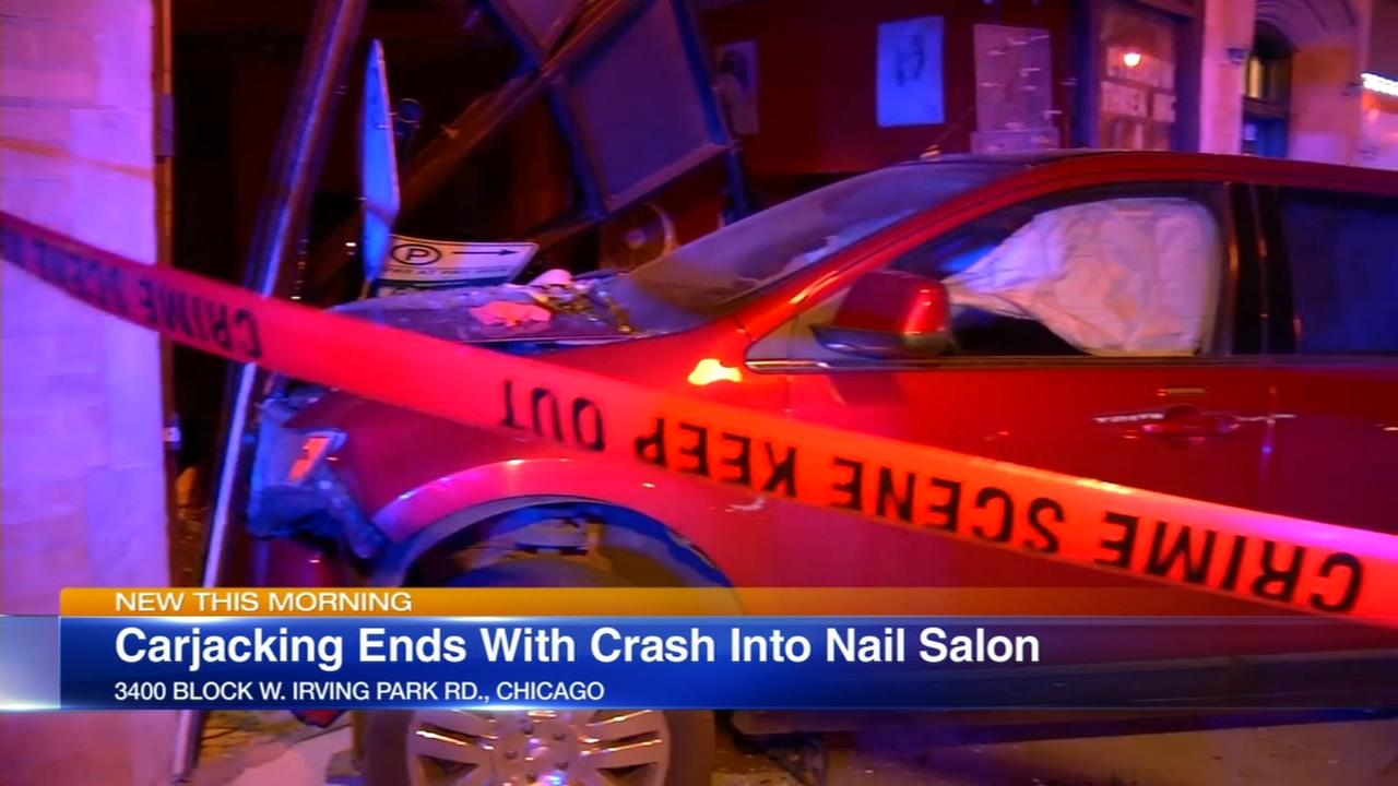 NW Side carjacking ends in crash into nail salon