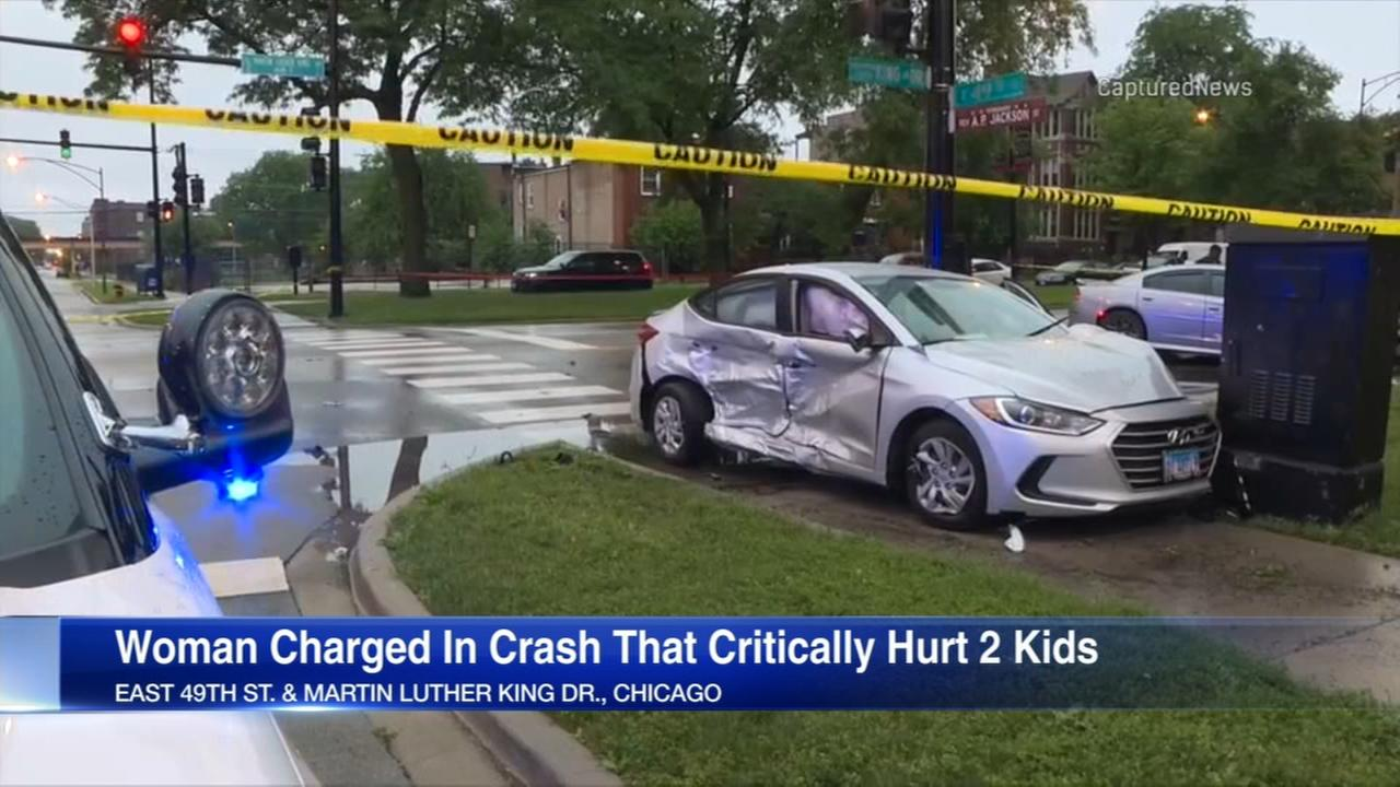 Woman charged in Bronzeville crash that injured two children
