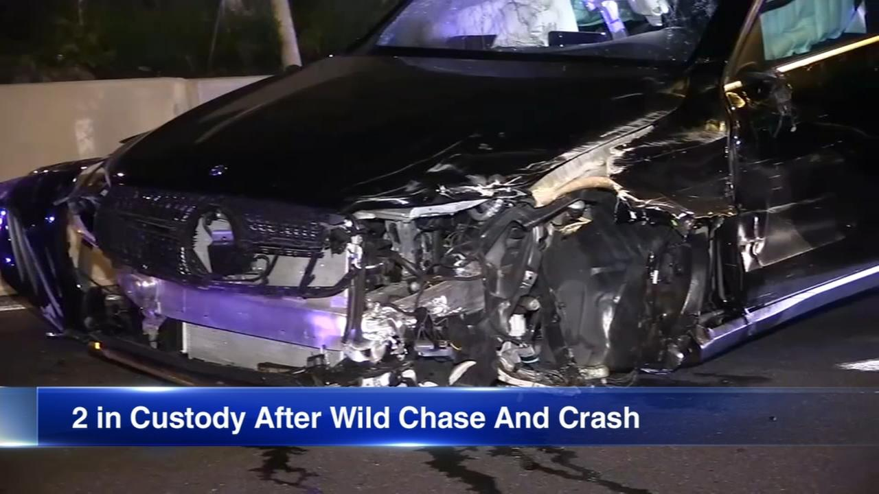 2 in custody after police chase, crash on Eisenhower