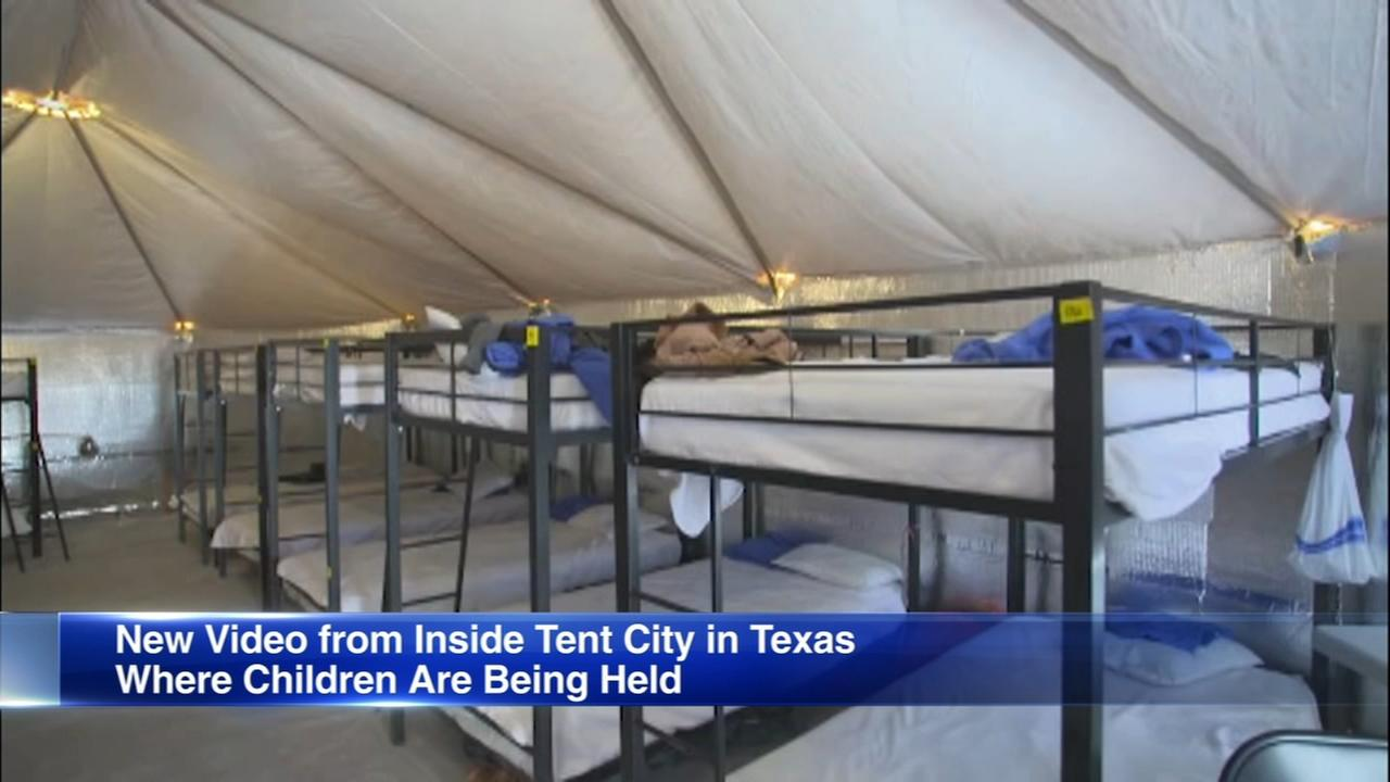 Reporters get 1st look inside tent city for migrant children in Tornillo, Texas