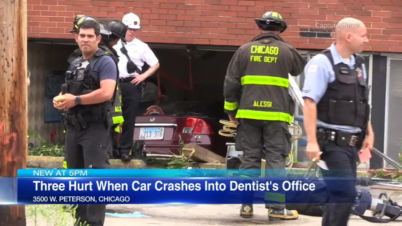 3 injured when car crashes into Pulaski Park dental office