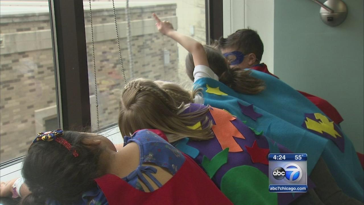 Super heroes visit pediatric patients in Winfield