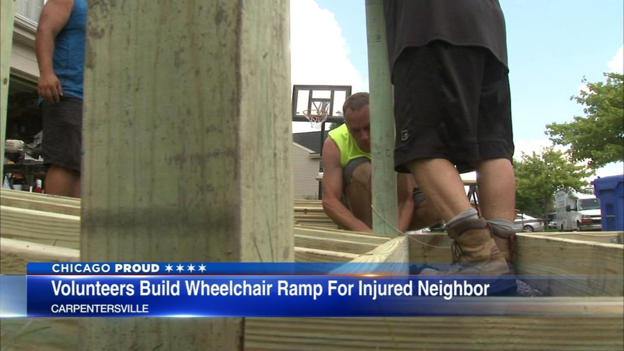 Neighbors build ramp for man who lost legs