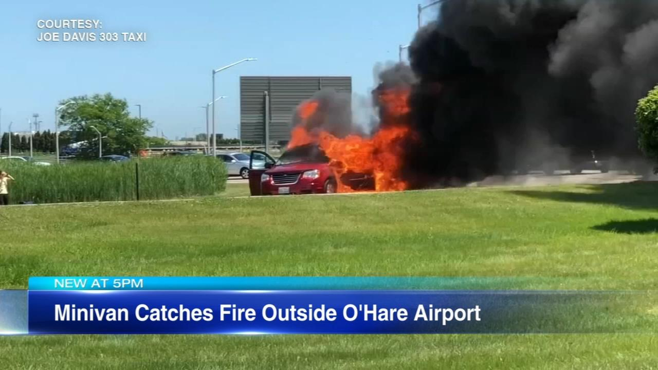 VIDEO: Minivan catches fire outside O'Hare airport