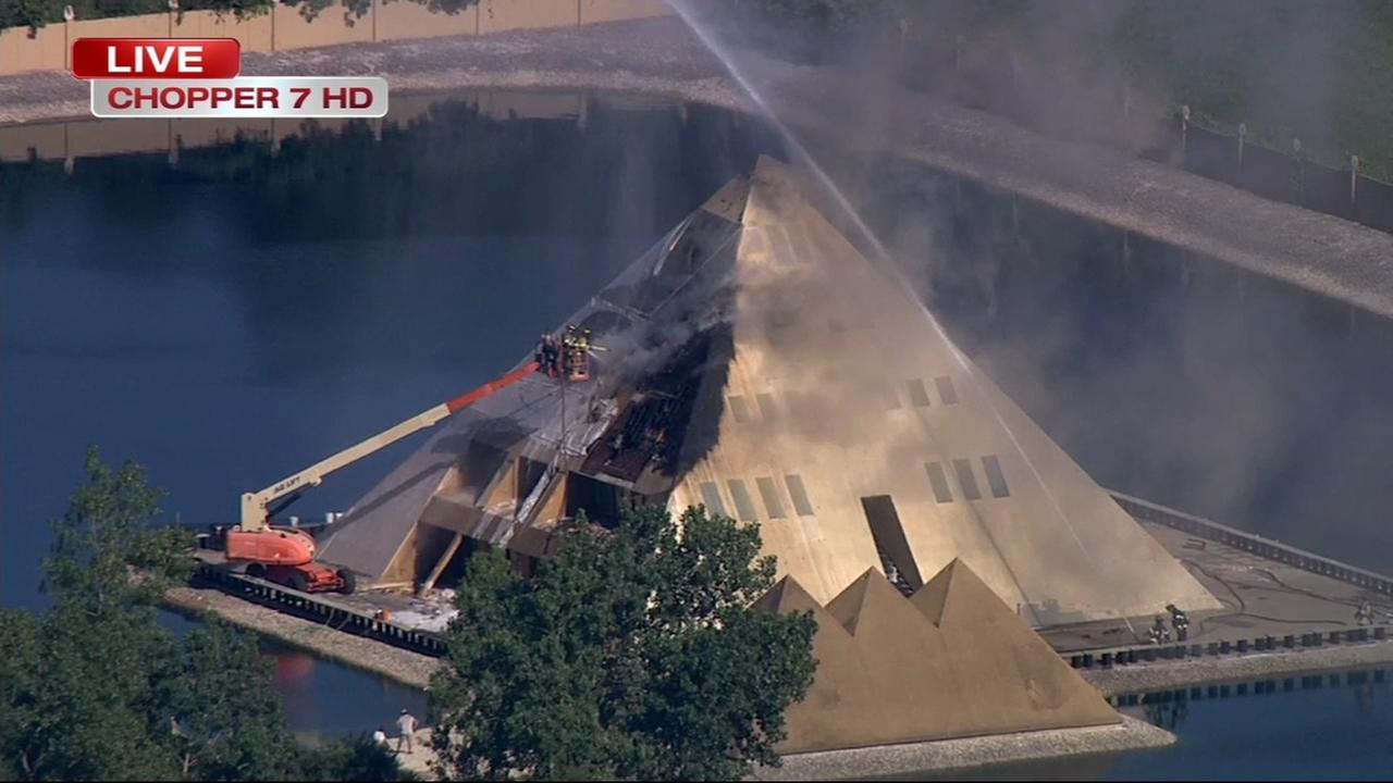 Wadsworth 'Golden Pyramid' house on fire