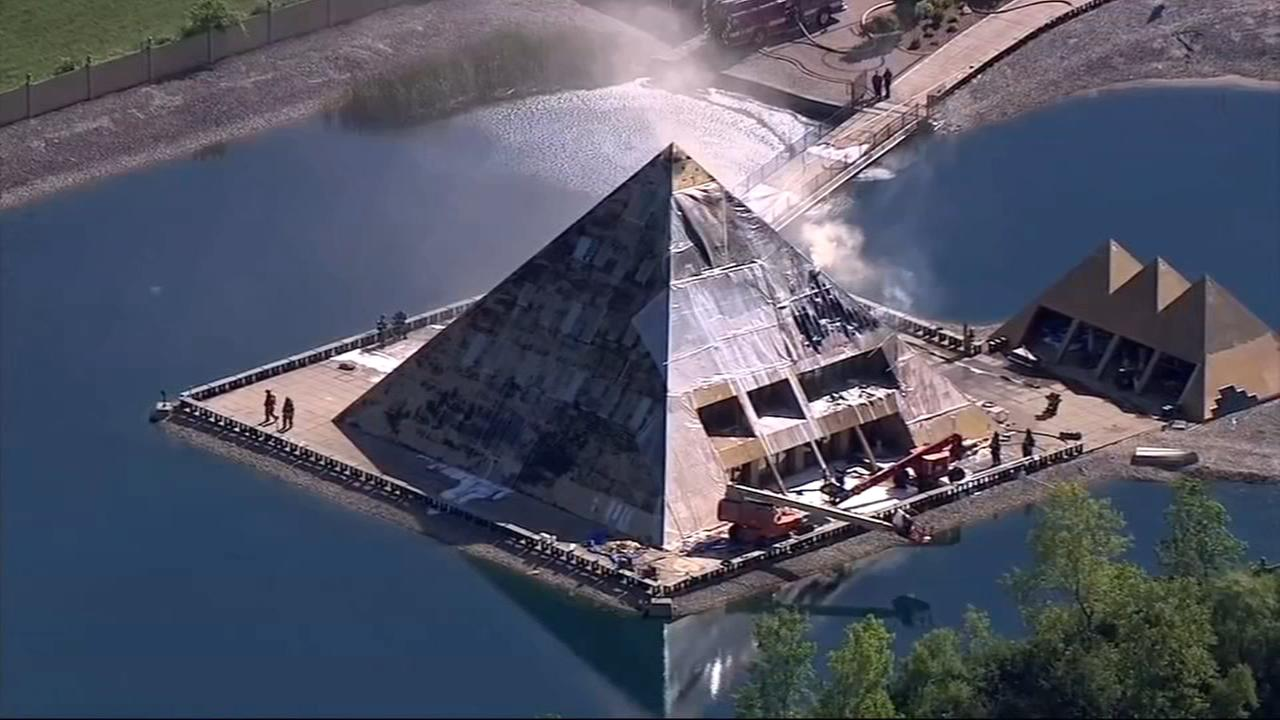 Wadsworth Gold Pyramid house badly damaged by fire