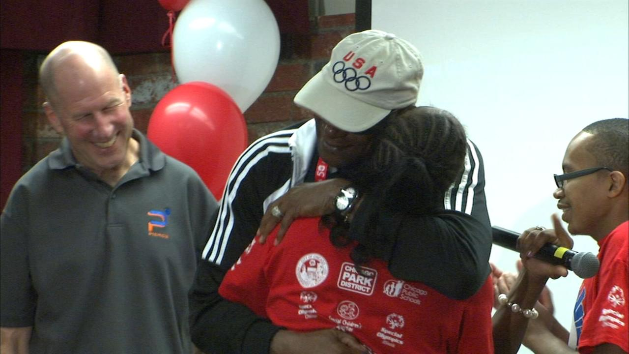 Special Olympians receive laceless shoes from former Olympic athlete