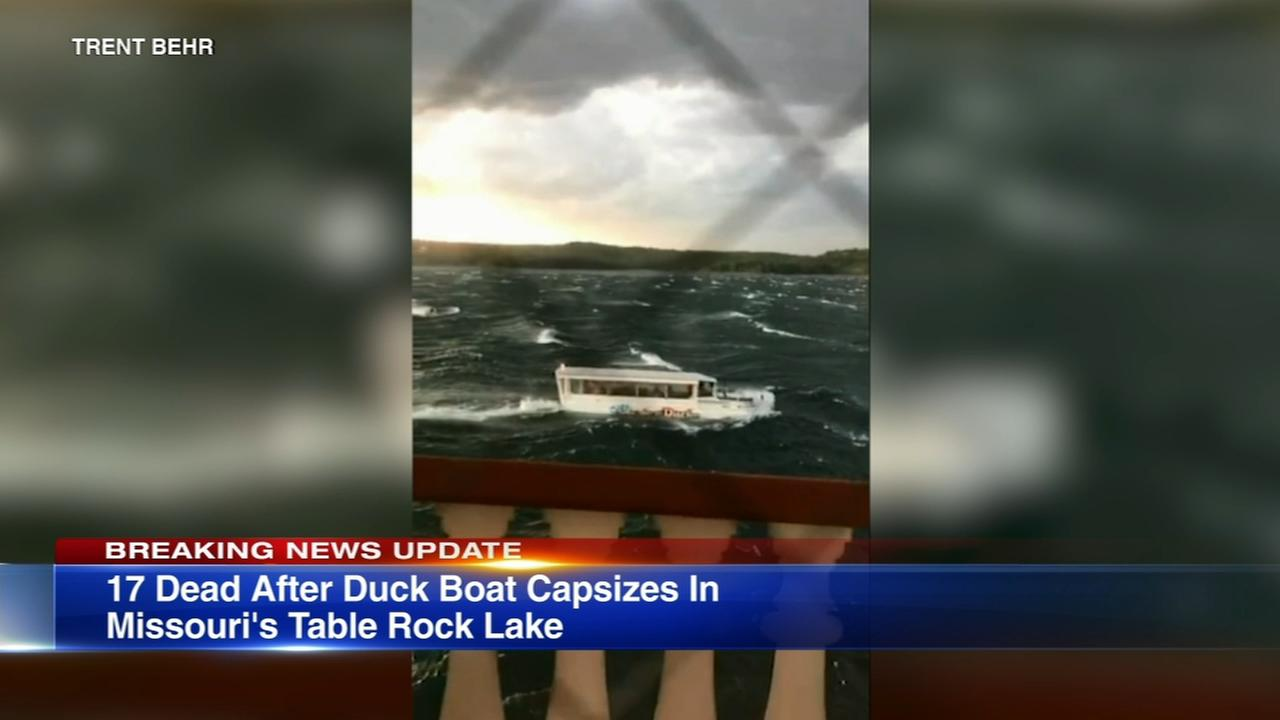 Duck boat sinks in Branson on Table Rock Lake, killing 17