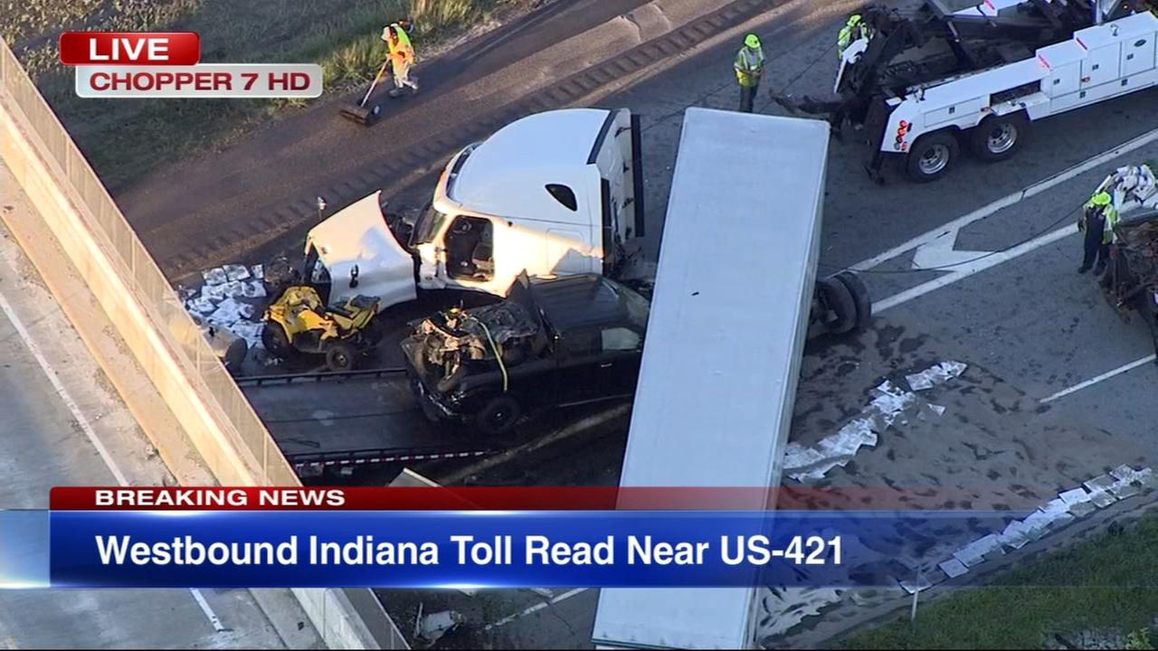 WB Indiana Toll Road blocked near US 421 due to crash