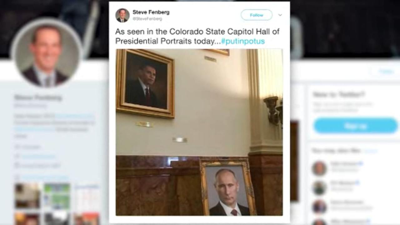 Prankster put a Putin portrait in Colorados state Capitol where Trumps would be
