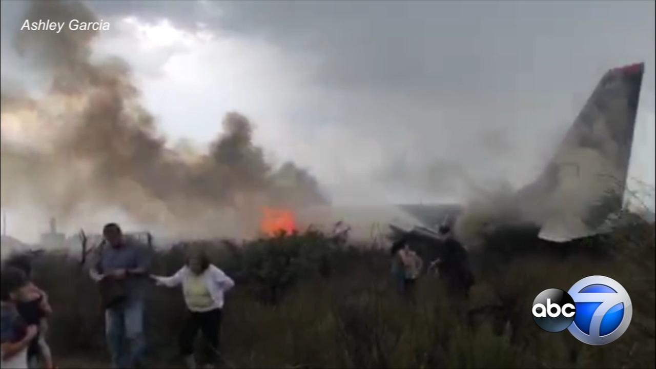 Video shows passengers running from burning Aeromexico plane