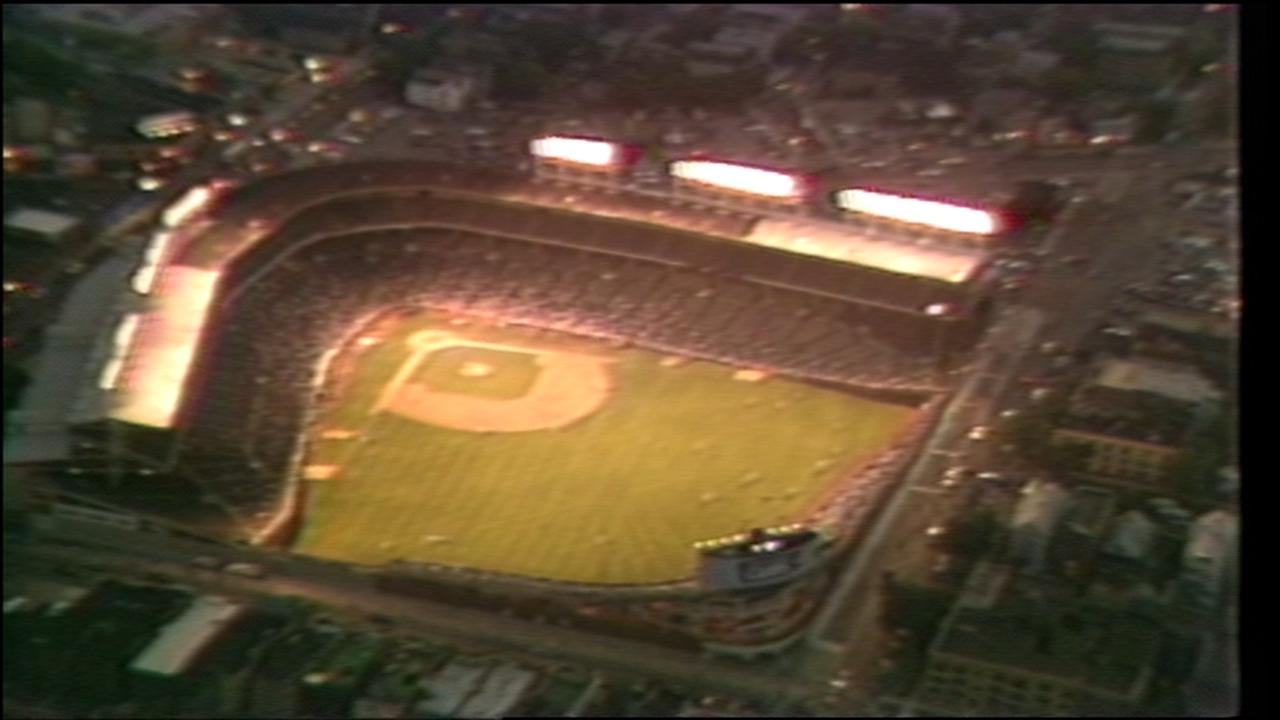 Wrigley Field illuminated night lights 30 years ago today