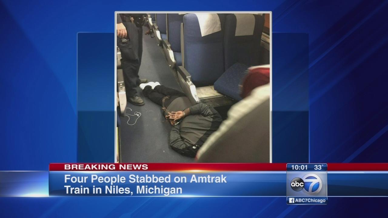 4 stabbed on board Amtrak train