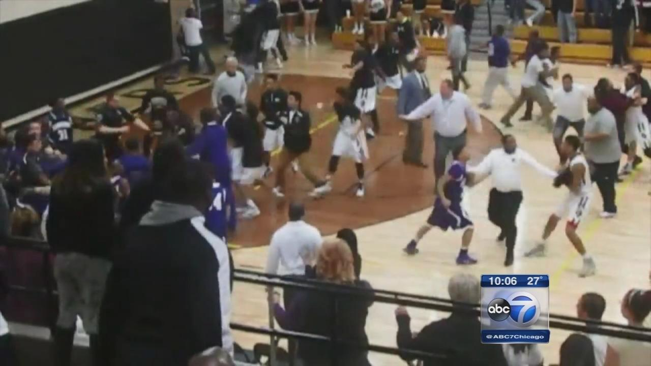 Brawl breaks out at H.S. basketball game in Griffith, Ind.