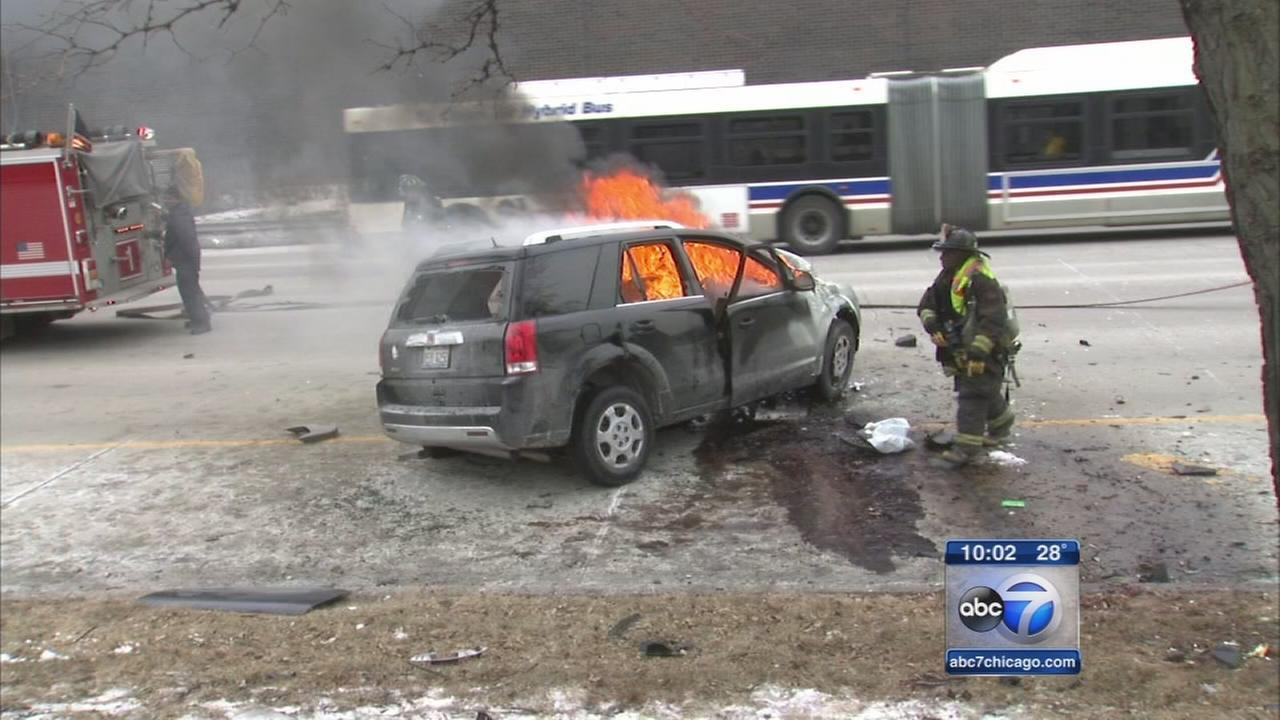 Teen driver injured in fiery Lake Shore Drive crash