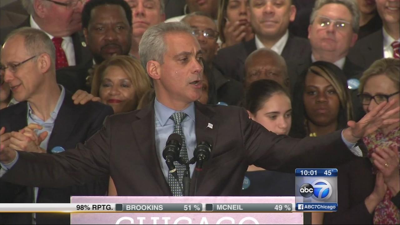 Rahm Emanuel re-elected to second term