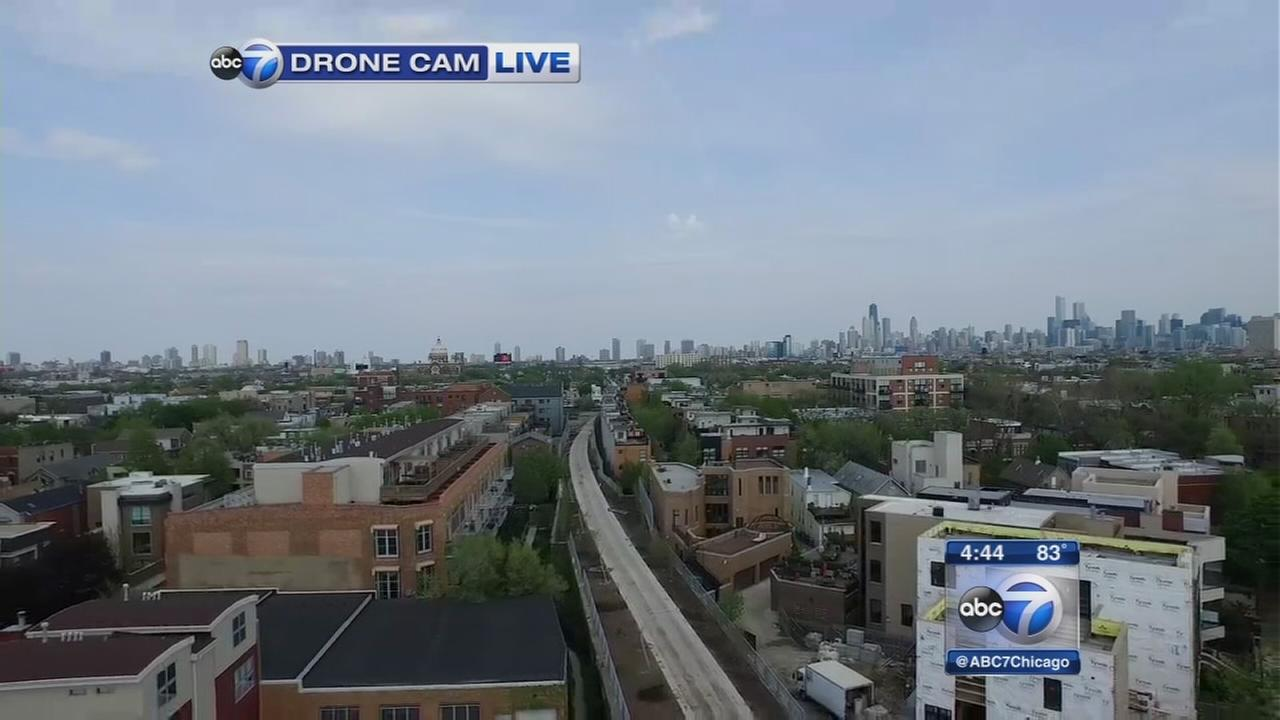 Drone flies live over new Bloomingdale Trail