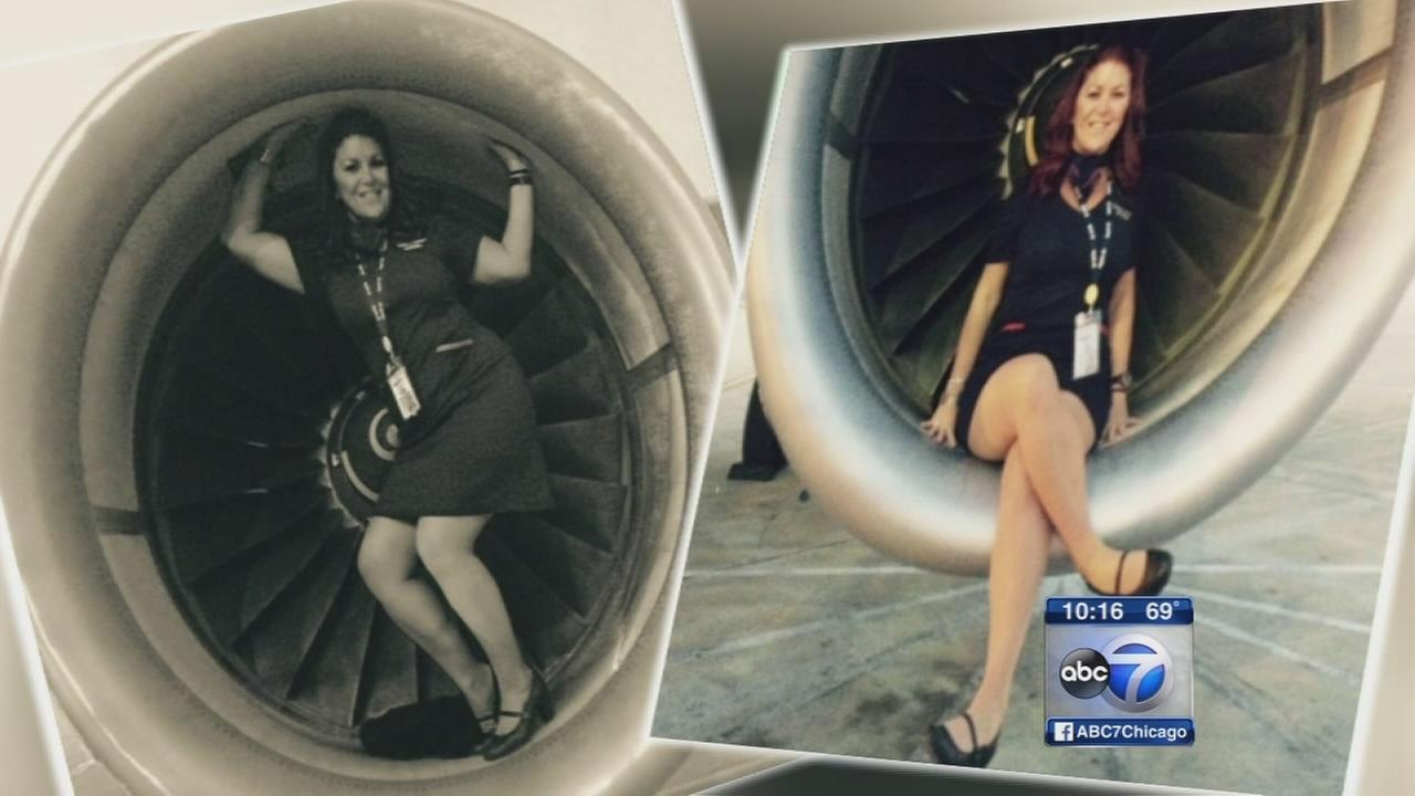 Flight attendants rally for colleague in engine photo