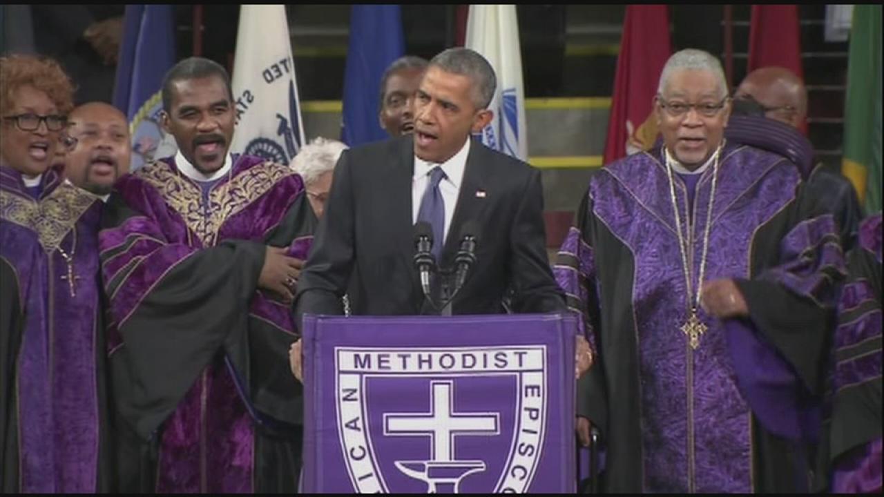 President Obama sings Amazing Grace