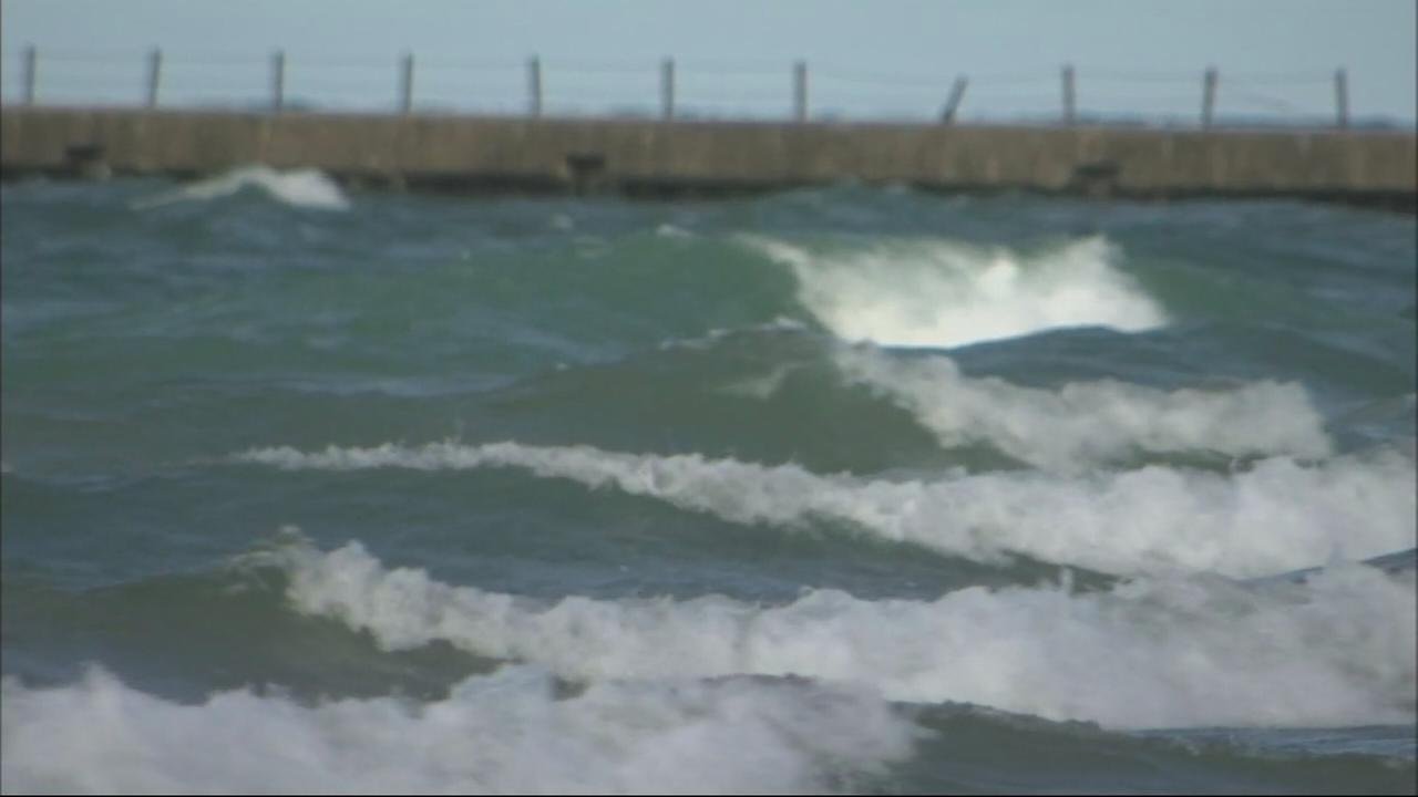 Lake Michigan under hazard warning